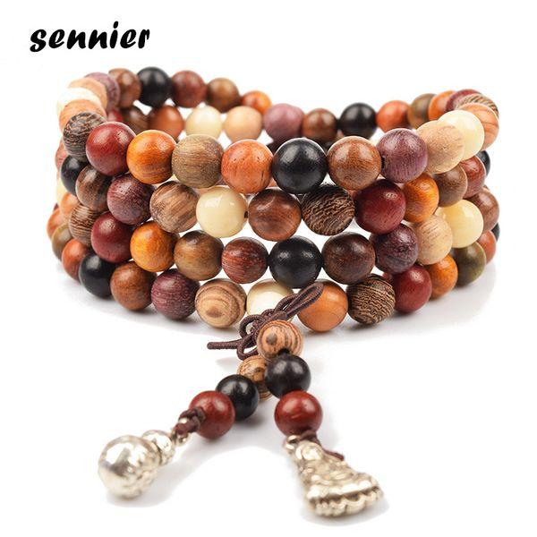 2018 Natural Variety of Sandalwood Buddha Bracelet Wooden Beads Bracelets Tibetan Buddhist Mala Rosary Charm Bracelet Necklace