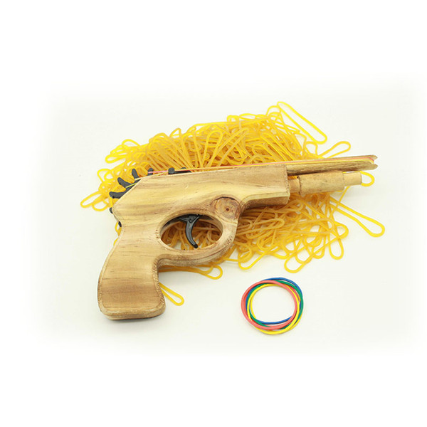 best selling New Creative Unlimited bullet Classical Rubber Band Launcher Wooden Hand Pistol Gun Shooting Toy Gifts Outdoor Fun Sports For Kids