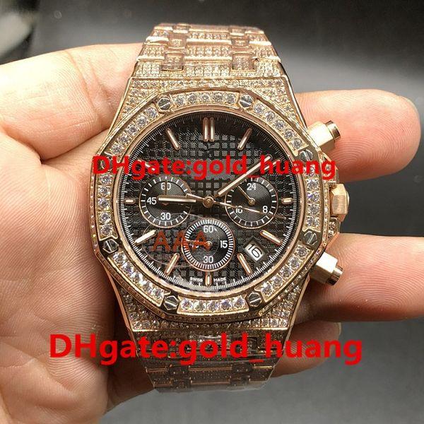 Full iced Luxury 42mm diamond Quartz man watch Full diamond band Quartz Stainless steel Sapphire Full function men's watches 14232432