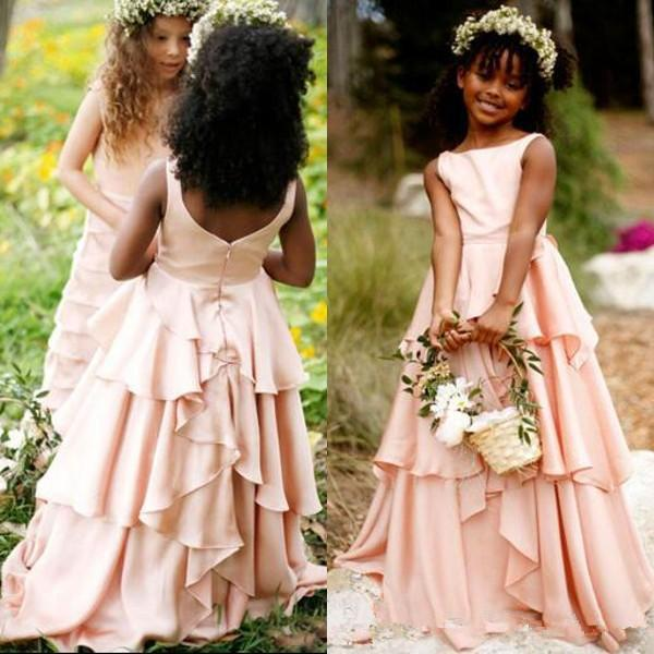 Blush Pink Flower Girl Dresses for Weddings Bateau Neck Sleeveless Tiered Long Full Length Kids Wedding Party Formal Wear Teen Gowns