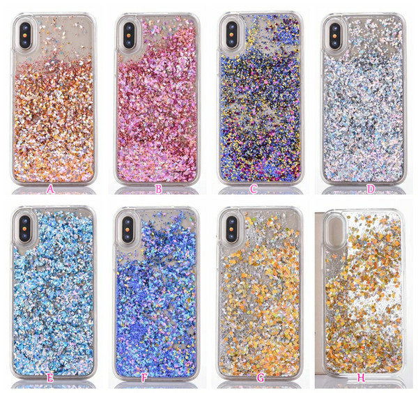 Foil Confetti Flake Liquid Hard Plastic Case For iphone X 8 7 Plus 6 6S Galaxy S8 Sequin Glitter Quicksand Diamond Bling Shinny Skin Cover