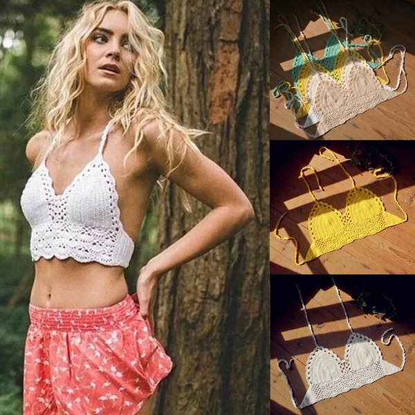 Handmade Crochet Bikini Bra Top, Bikini Beach , Hollow Out Crochet Bralette , Crochet Swimsuit, Triangle sexy Bra