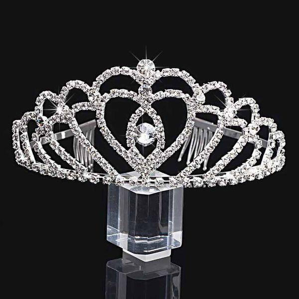 best selling Handmade Bling Silver Wedding Bridal Crystal Crown Bridesmaid Tiaras Nice Gift For Girl 12*6CM H0006