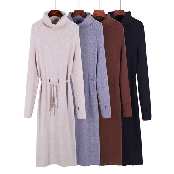 Thumb Hole Women Long Pullover Sweater Turn-down Collar Knitted Sweaters Fall Winter Pull Femme Lace Up Jumpers Clothes Fashion L18100801