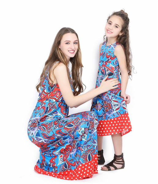 Anne kızı elbise aile maç Ayak bileği Uzunlukta Maxi elbise Vintage anne kızı elbisesi Polka Fot anne ve ben elbise