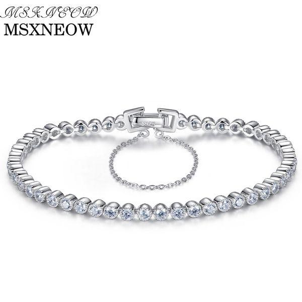 MSXNEOW Brilliant Clear Zircon Stone Tennis Silver Women Bracelet Genuine 925 Sterling Silver Wedding Bracelets & Bangles SB0038 S18101507