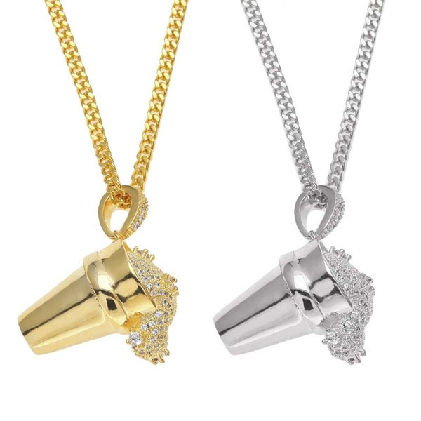 New Crystal Cubic Zirconia Ice Cream Styrofoam Cup Necklace Gold Hip Hop Necklace Chains Fashion Jewelry for Men Drop Shipping