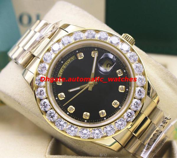Relógio De Pulso De Luxo 18 k Ouro Amarelo Black Dial 41 MM Presidente Day-Date 18038 Maior Diamante Bisel Mecânico Automático Homens Relógios de Qualidade Superior