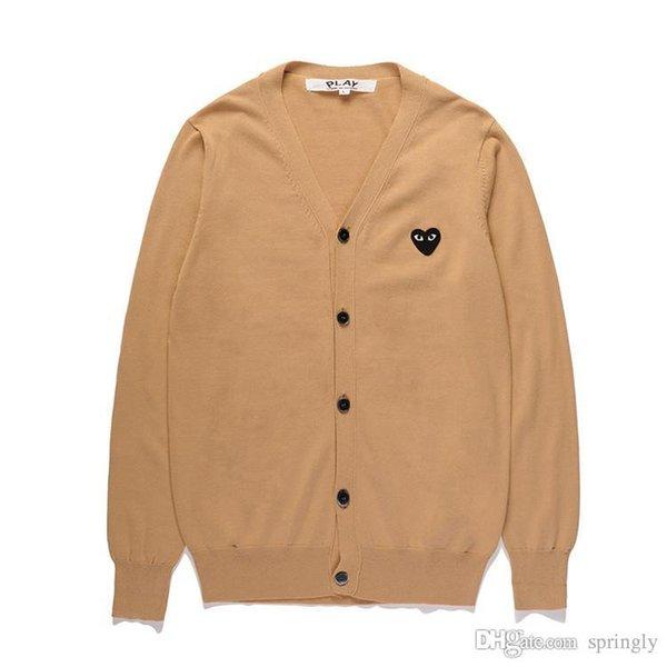 2017 AAA Qualität Com Des Garcons C218 Khaki Schwarz Herz URLAUB Herz Emoji PLAY pullover baumwolle V strickjacke kragen