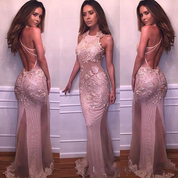 Beautiful Dusty Rose Halter Neck Prom Dresses Lace Appliques Sexy Backless Mermaid Prom Gowns Special Occasion Evening Party Dresses