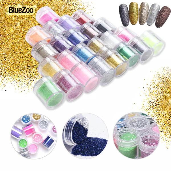 BlueZoo 24 bouteilles / set Nail Glitter Poudre Acrylique Poudre UV Gel Design Pour Nails 3D Conseils Décoration Manucure Nail Art Accesseries