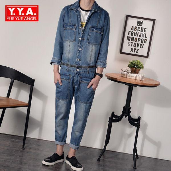 Denim Overalls Mens Autumn 2018 Korean Fashion Punk Style Casual Jeans Jacket Ankle-Length Pants Male Pockets Slim Fit Jumpsuits