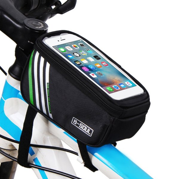 B-SOUL Bicycle Handlebar Mobile Phone Pouch Touch Screen Top Frame Tube Storage Bag Waterproof Cycling Cellphone Holder Bag