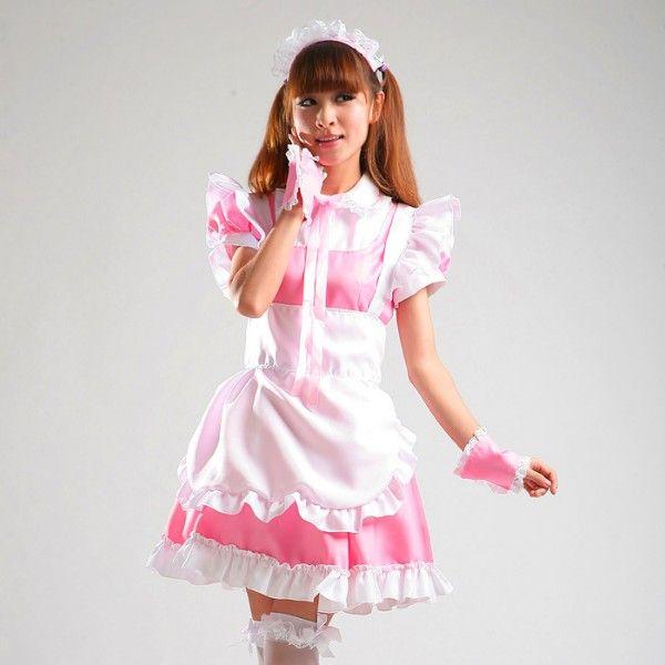 New Lovely Romantic Lolita Dress Pink e Black Lace Cute Maid Costumi Cosplay Anime Costume Cartoon Dress Suit