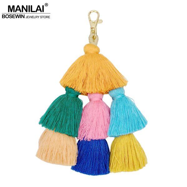 harm keychain MANILAI 190mm Bohemian Handmade Bag Pendant Women Fashion Accessories Charm Keychain Multicolor Cotton Tassel Key Chain Jew...