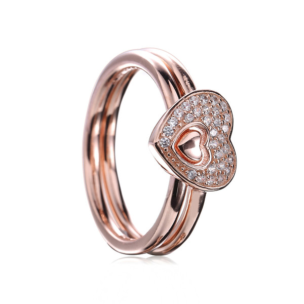 18CT Rose Gold Plated Over 925 Sterling Silver Shimmering Puzzle Heart Ring Fit Pandora Charm Jewelry Engagement Wedding Lovers Fashion Ring