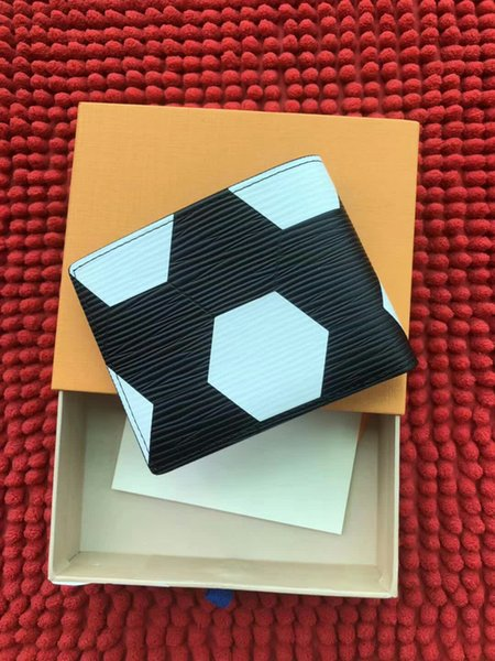 World Cup Limited Style Billetera BRAZZA de alta calidad Patrón de fútbol billetera doble bolsillo Compartimento de embrague día compartimento con cremallera