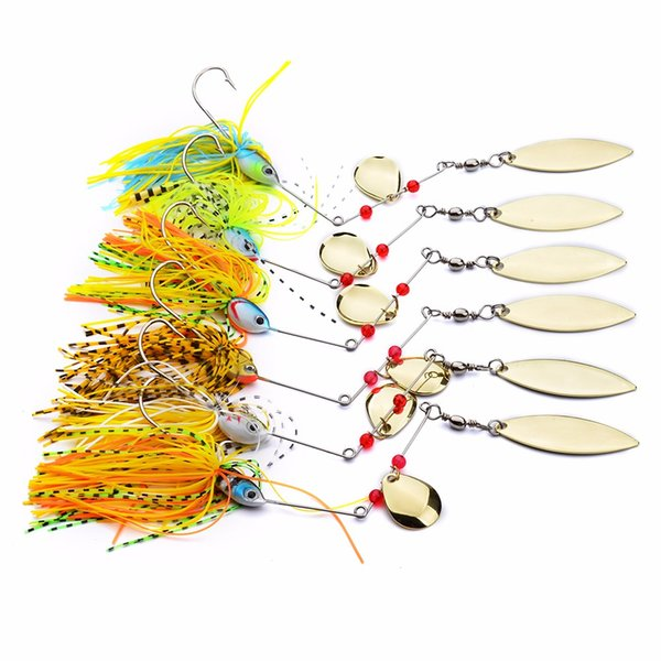 6 Pcs Assorted Fishing Tackle Spoon Sequins Lures Spinner Buzz Bait Perch Bass
