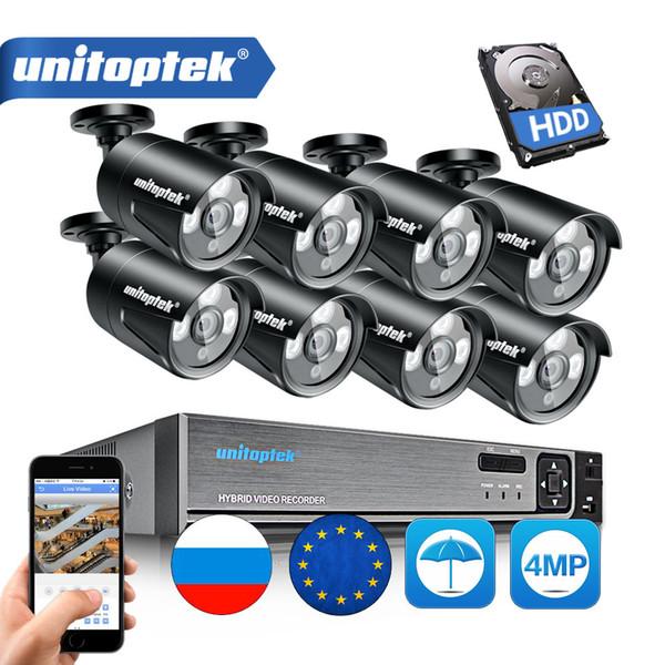 H.265 4CH 8CH CCTV Surveillance Kit 4MP Security Camera System 8CH POE NVR Max 4K Output 4 / 8Pcs 4MP POE IP Camera Waterproof CCTV Set