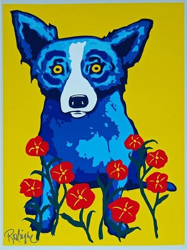 La primavera del cane blu di George Rodrigue è qui Stampa HD dipinta a mano di alta qualità Pittura a olio Decorazioni per la casa Arte murale su tela a137