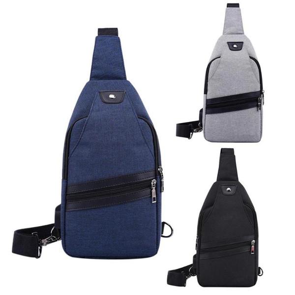 Erkekler Için harici USB Şarj Seyahat Çantaları Katı Renk Tuval Messenger Çanta Crossbody Fermuar Yönlü Göğüs Paketi Omuz Çantaları Yeni