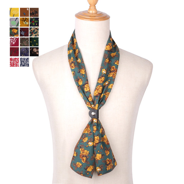 Fashion Cotton Scarf for Women Men Casual Floral Print Scarves Spring Autumn Ladies Wrap Thin Soft Pocket Square