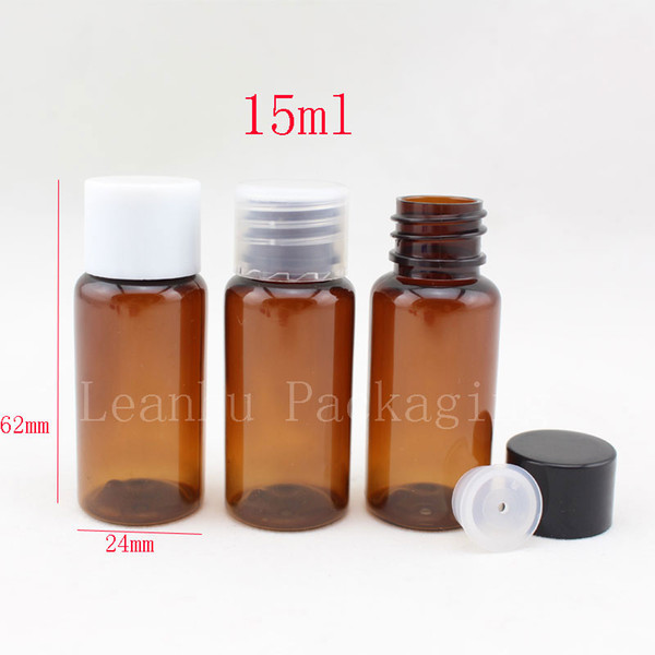 15ml X 100 brown plastic empty cosmetic bottles small container with lid DIY travel size personal care bottles essential bottle