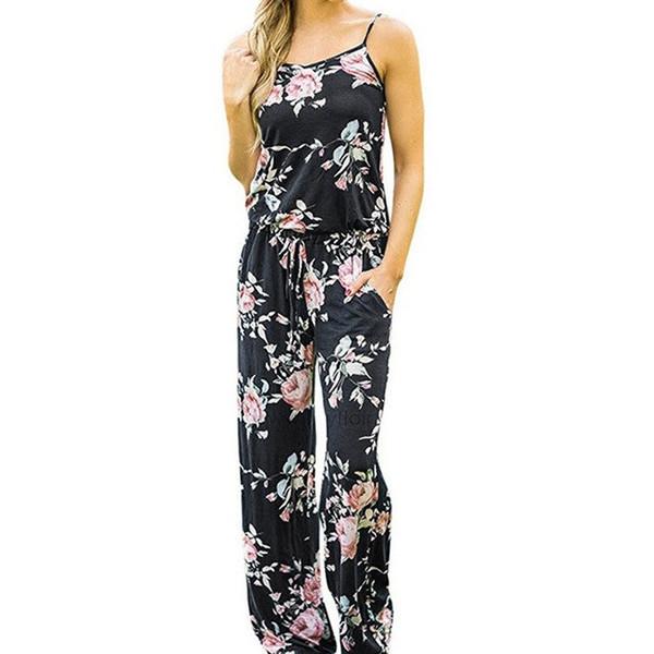 Kawaii Floral Women Jumpsuit Fashion Spaghetti Strap Long Playsuits Casual Beach Pantaloni a gamba larga Tute Summer Female