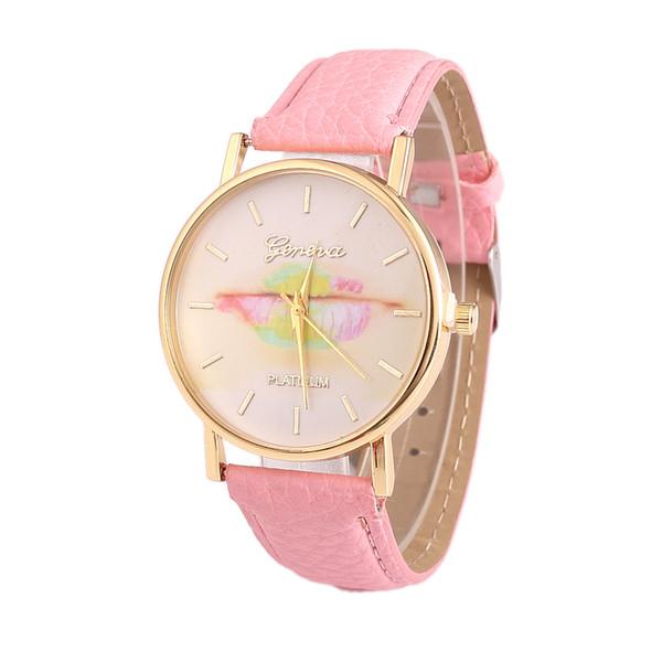Lovely Lip Pattern Couple Wrist Watches Casual Cartoon Leather Strap Quartz Watches Women Dress Clocks Saat