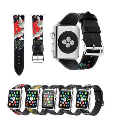 Apple için Watch Band iwatch Bileklik Serisi 1 2 3 4 Evrensel Siyah Deri Desen Kelime Toka Renkli Baskı Peri Kayışı 38mm 42mm