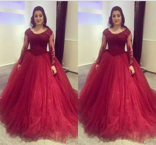 Burgundy Lace And Tulle Quinceanera Dresses Scoop Neck Tulle Long Sleeves Ball Gown Prom Party Wear Sweet 16 Dresses Evening Gowns