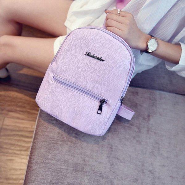 Korean Style Solid Color Frauen Rucksack 2018 Mini Leder Casual Student Tasche Volltonfarbe Rucksack Schultasche Für Mädchen