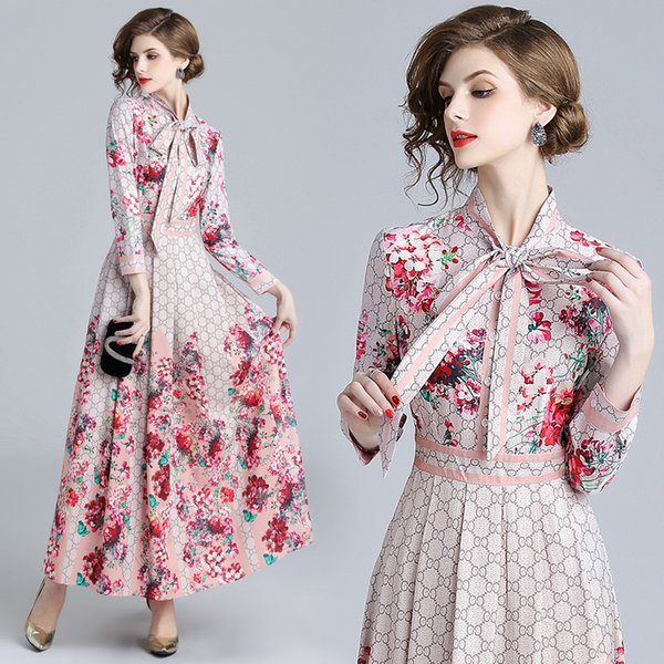 2018 Fall Spring Runway Fashion Floral Print Ribbon Tie Collar Long Sleeve Empire Waist Dresses New Arrival Wholesale Women Ladies Casual