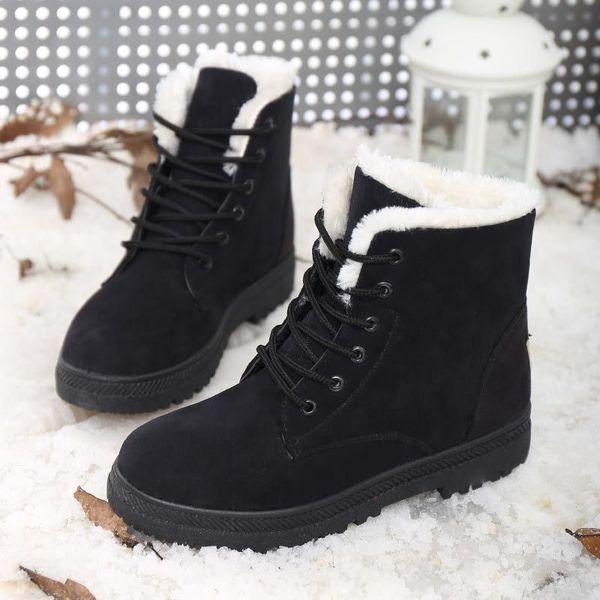 2018 Женщины Зимние Сапоги Замша Теплая Платформа Снег Ботильоны Женщины Повседневная Обувь Круглый Носок Женский Botas Mujer 756