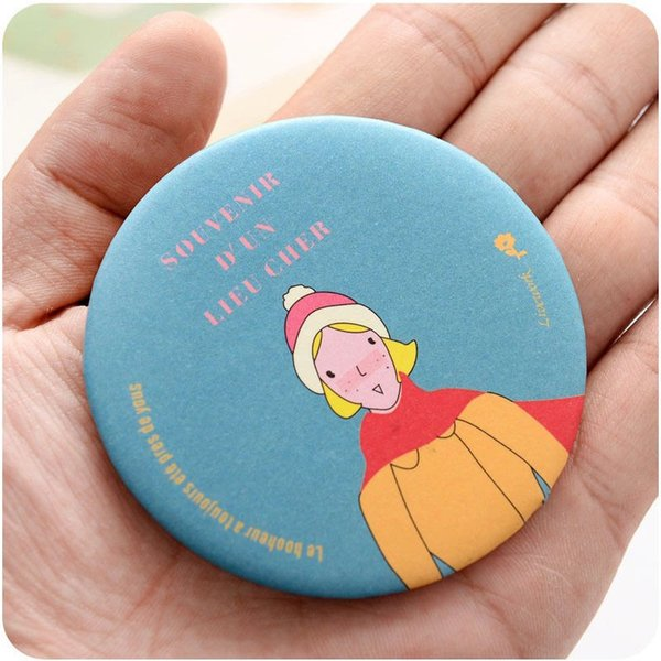 1Pcs Lady  Mirror Cartoon Pattern Portable Compact Pocket Cosmetic Mirror Random Style