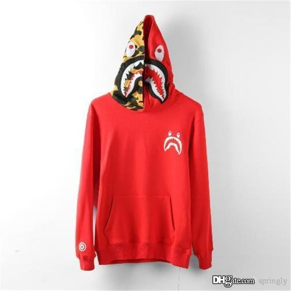 2017 Nueva Red Bap A Bathing A mono chaqueta SHARK Head Camo FULL ZIP HOODIE Ropa Shark Hoodie Hoodie Coat
