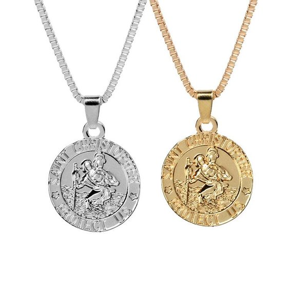 Saint Christopher Protect Us Surfing Necklace Coin Traveller Necklace Silver Gold Plated Chain for Women Men Fashion Jewelry KKA2040