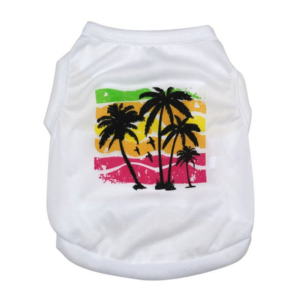 Stylish Simple Beautiful Rainbow Colorful Coconut Tree Pattern Spring Summer Dog Vest T Shirt For Sale