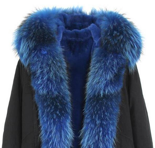 Popular blue fox and Khaki rabbit fur lined Jazzevar brand black mini parka with YKK zipper warm parkas with fox fur trim