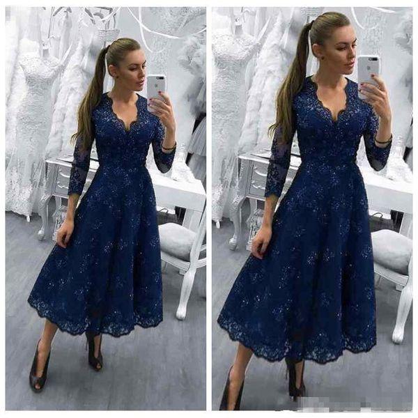 Großhandel 2018 Marineblau Mutter Der Braut Kleider V Ausschnitt Mit ...