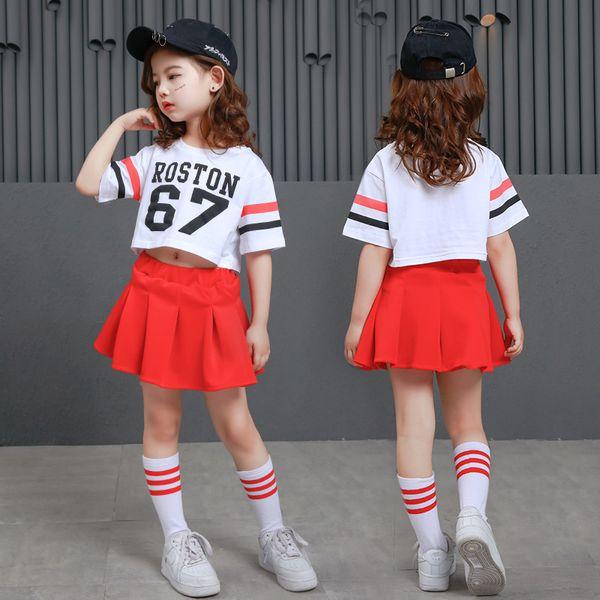 Mädchen-Mode-Hip-Hop-Rock Rote Gesellschaftstanz-Wettbewerb-Hemden Kinder-Ernte-Spitzen-Tanz-Kostüm-Jazz-Leistung zeigt Outfits