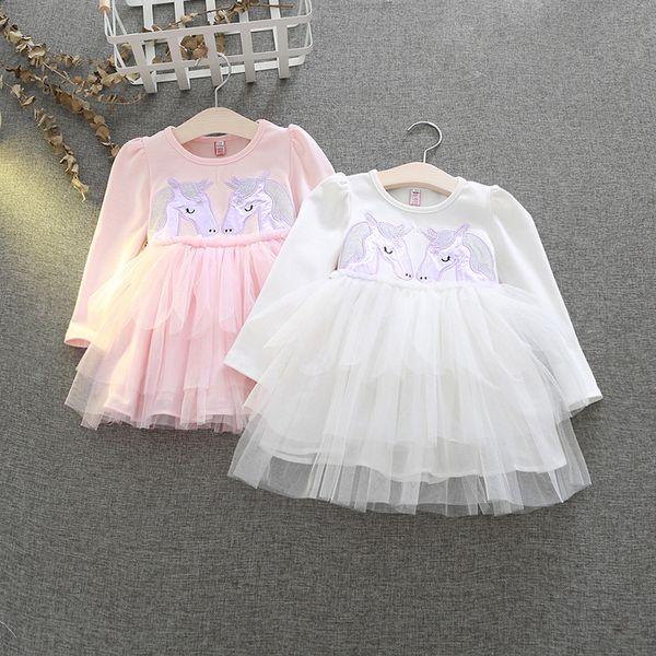 Baby girls unicorn wings dress children embroidery princess dresses girls kids perform Dress Clothing hot sell