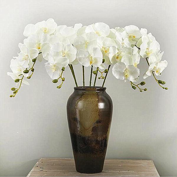 10 Unids / lote Realista Mariposa Artificial Orquídea flor de Seda Phalaenopsis Boda Hogar Decoración de DIY Flores Falsas