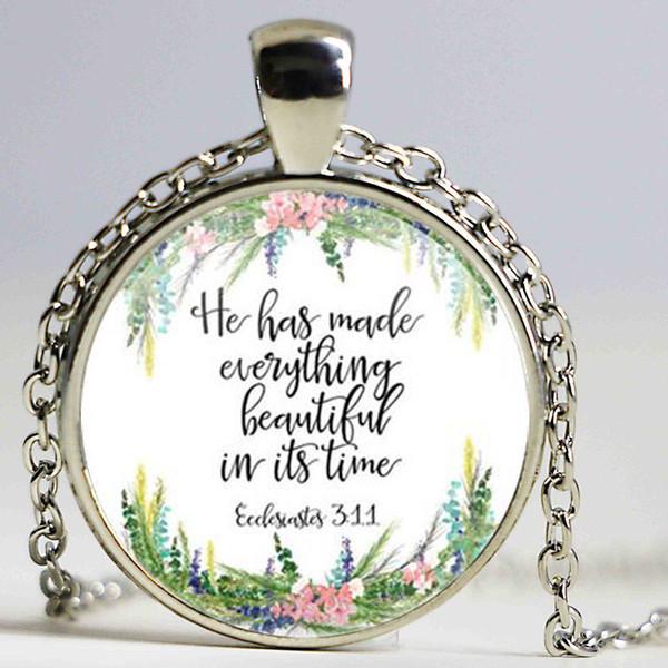 Großhandel New Er Hat Alles Schöne In Seiner Zeit Gemacht Prediger 311 Bibel Vers Halskette Modeschmuck Frauen Männer Geschenke Von