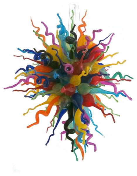 Бесплатная доставка 100% из дутого рта боросиликат большого размера мода многоцветный муранское стекло большая люстра современные ручной выдувного стекла подвесные светильники