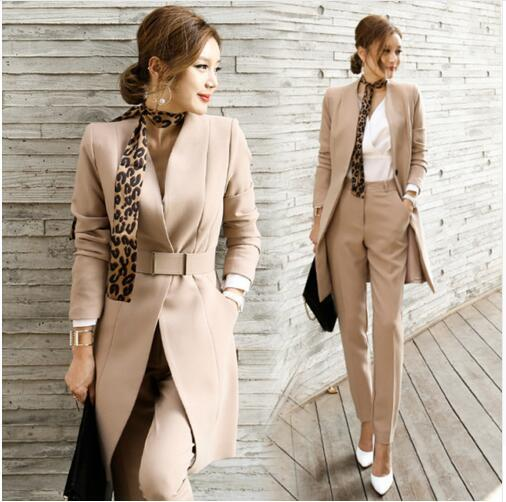 2017 Autunno Donna 2 Pezzi Pantalone Donna Casual Abiti da ufficio Affari Abiti da lavoro convenzionali Imposta Uniforme Stili Eleganti Pantaloni Tute