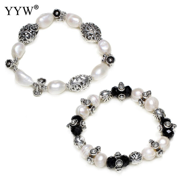 100% Natural Freshwater Cultured Pearl Bracelet Pear Crystal Antique Mix Beads Charm Bracelet Women Fashion Statement Jewelry
