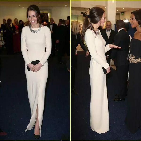 Kate Middleton Celebrity Dresses Red Carpet Dresses Crew Sheath White Satin Evening Dresses Long Sleeve Front Slit Formal Party Dress Floor