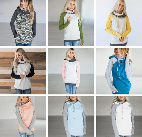 Double Hood Hooded Hoodies Sweatshirts Women Drawstring Pullover Hoodie Female Patchwork Sweatshirt Autumn Coat Warm zip hoody Maternity Top