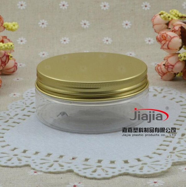 150g clear PET Can Aluminum Jar Candy Box Plastic Jar Custom Packaging Metal Box Tin Can 150ml Container with gold aluminum lid